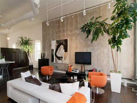 Modern Orange Living Room Design by Loft Interior Design And Decorating With Bold Orange Color