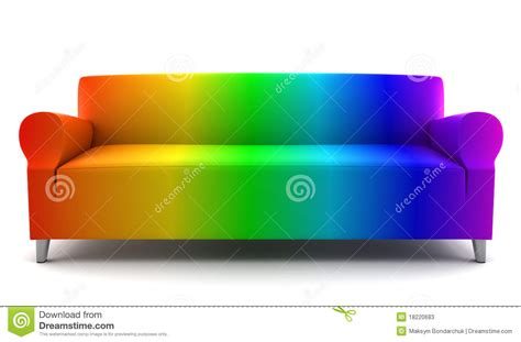 dye couch rainbow color couch isolated on white stock photos image