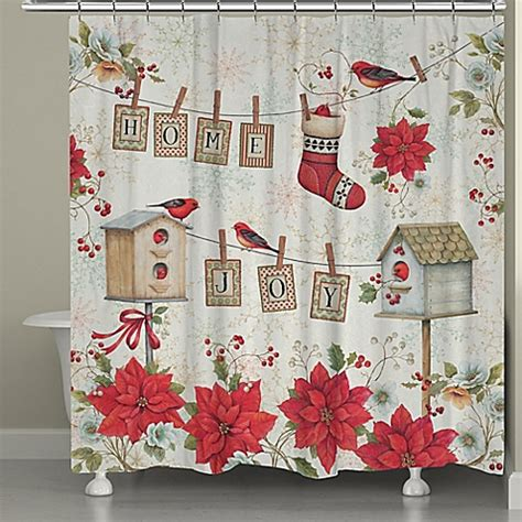 holiday shower curtain buy laural home holiday wings shower curtain in red white