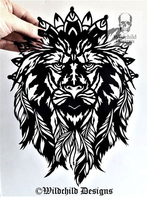 silhouette tattoo paper uk tattoo lion dreamcatcher silhouette paper cutting template for
