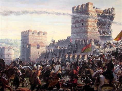 Byzantine Ottoman Wars Janissaries Storming The Wall Of Constantinople