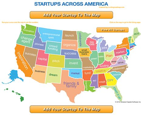 america map up entrepreneurial map of us startups