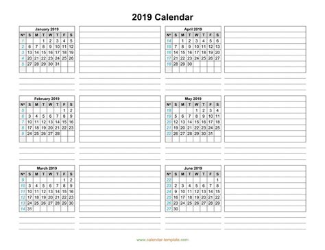 calendar template months page