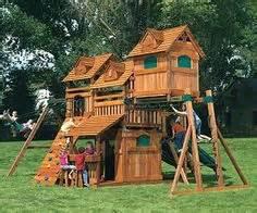 wooden swing set with bridge bridge connecting playhouse and slide kids korner