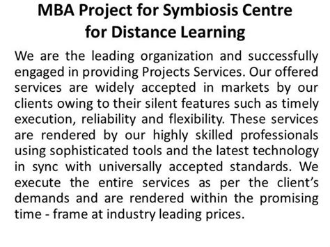 Mba In Symbiosis Distance Learning 2014 by Mba Project For Symbiosis Centre For Distance Learning