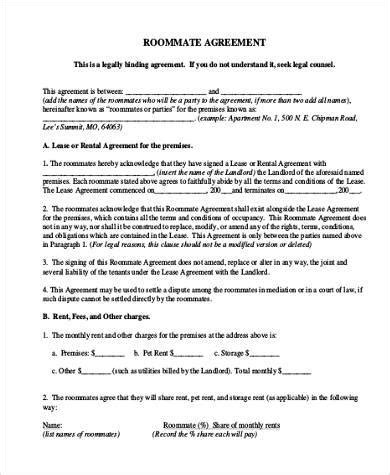 Free Agreement Form Sles 30 Free Documents In Word Pdf Roommate Lease Agreement Template Free