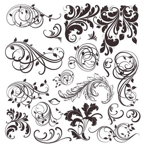 printable vector art vintage floral elements vector set free vector graphics