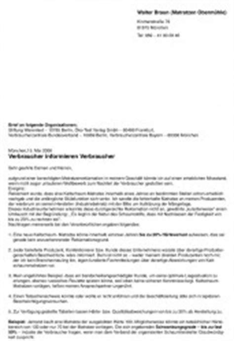 Musterbrief Reklamation Matratze Offener Brief Verbraucher Informieren Verbraucher