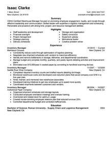 Inventory Manager Resume by Inventory Manager Resume Exles Production Resume Sles Livecareer