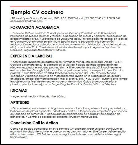 Plantilla De Curriculum Para Cocinero Ejemplo Cv Cocinero Micvideal
