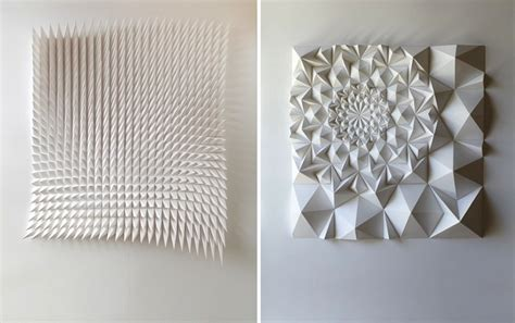 Folding Paper Shapes - intricately folded geometric paper sculptures