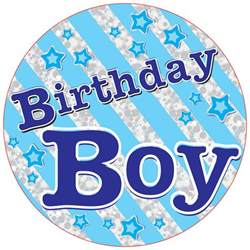 birthday boy party badge 15cm party mall