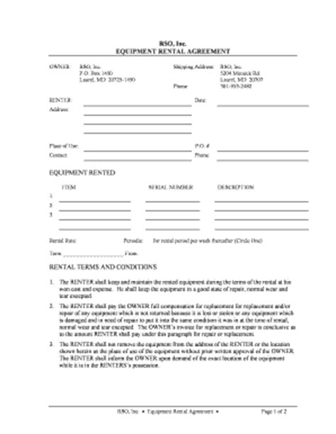 demo agreement template equipment rental contract fill printable
