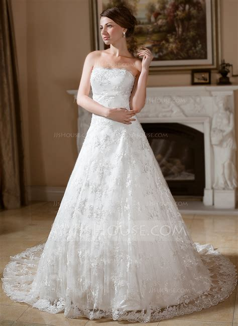 hochzeitskleid jjshouse ball gown strapless chapel train lace wedding dress with
