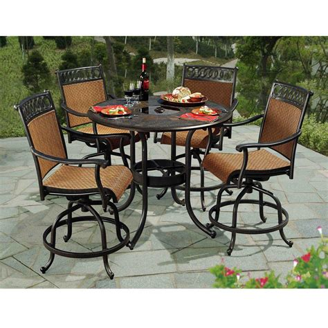 High Patio Dining Sets Sunjoy Dining Furniture Seabrook 5 Patio High Dining Set L Dn899sal A Shopyourway