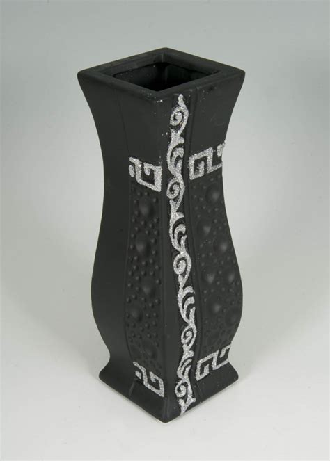 Black And Silver Vase Black And Silver Glitter Vase