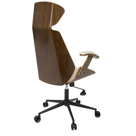 spectre mid century modern walnut wood office chair in cream
