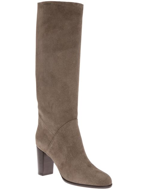 sergio knee high boot in gray grey lyst