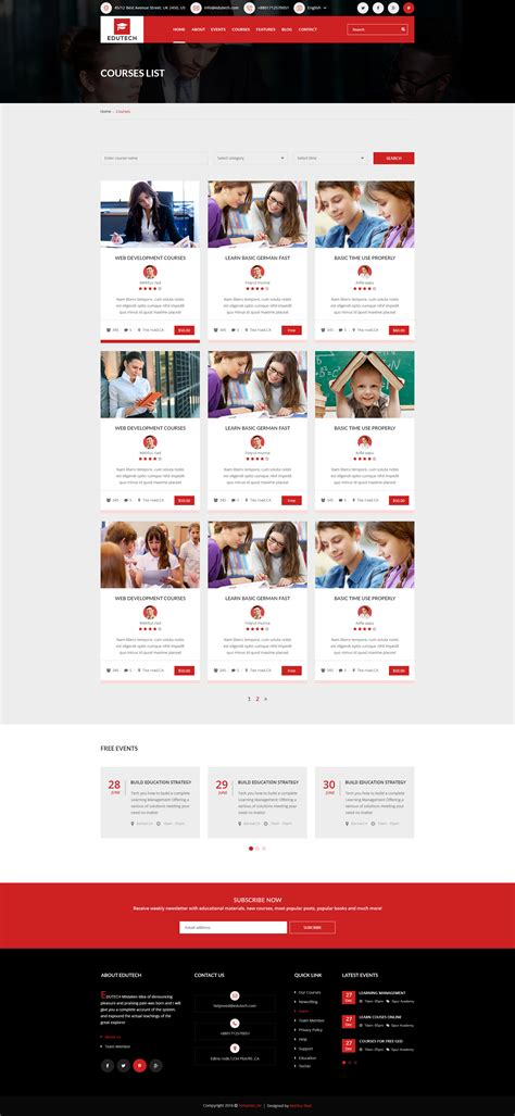 events layout website edutech education course and event template by template