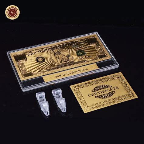 Plastik Dollar wr colored 3d gold 1 million bank note us dollar bill