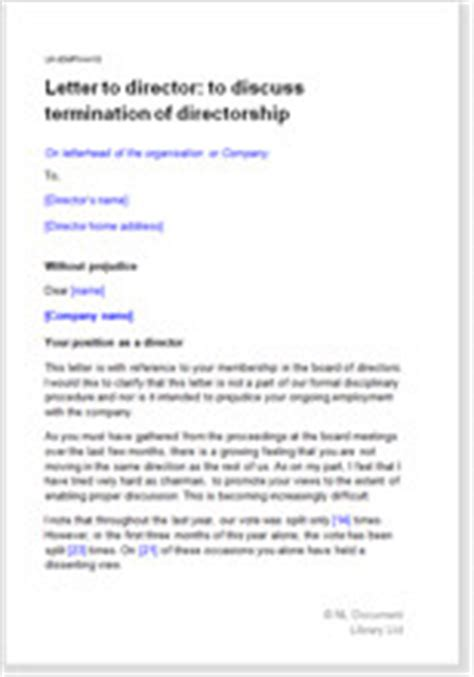 termination letter exle uk model letter to director re termination of directorship