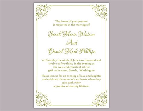 wedding invitations templates word diy wedding invitation template editable word file instant