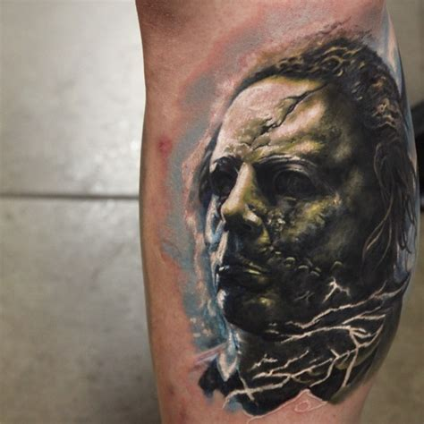 zombie tattoo on leg by graynd tattooimages biz mystical zombie like colored monster tattoo on leg