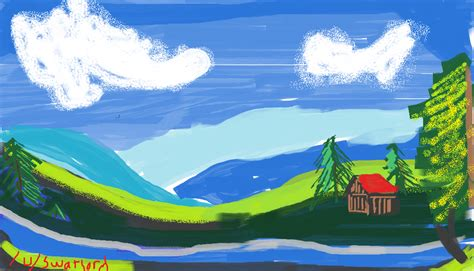 bob ross painting valley view paint like bob ross in mspaint
