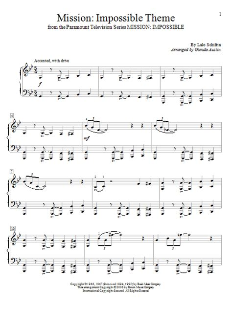 theme music of mission impossible mission impossible theme sheet music by glenda austin