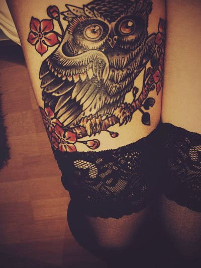 owl tattoo thigh legs owl tattoo image 219991 on favim com