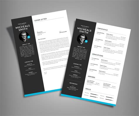 free professional resume cv design with cover letter
