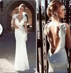 vintage sheath open back lace top wedding dress short sleeves bride dress v neckline custom