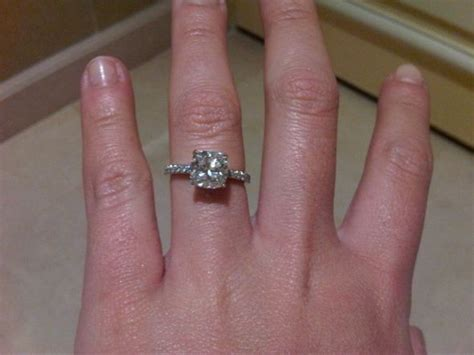 cushion cut engagement rings with no halo show me pics of cushion cut paved rings with no