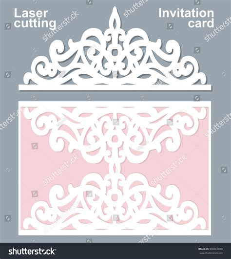 laser cut cards template vector die laser cut wedding card stock vector 398863090