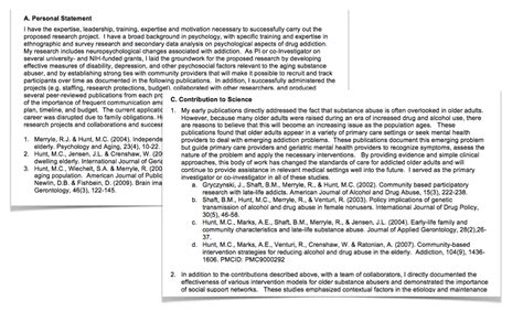 personal statement sections sciencv updated to support new nih biosketch format ncbi