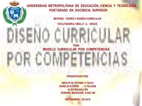 Diseño Curricular Por Competencias Universidad Modelo Curricular Por Competencia