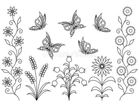 farfalle e fiori da colorare libro da colorare fiori e farfalle illustrazione