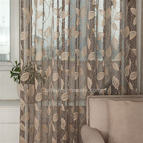 leaf pattern lace curtains affordable sheer curtain in gray color with beige leaf