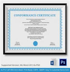 generic certificate templates sle certificate of conformance 19 documents in pdf