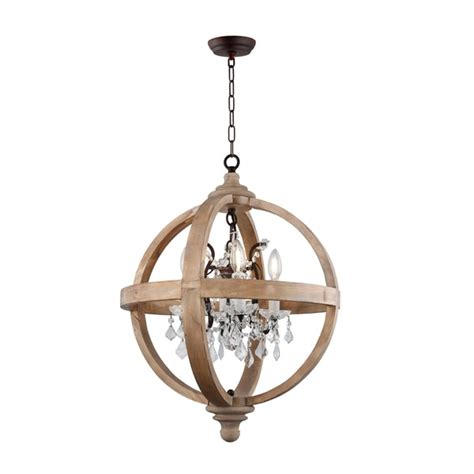 shop  light candle style globe chandelier  natural wood