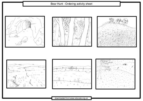 coloring pages for going on a bear hunt we re going on a bear hunt ordering activity