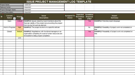 download issue project management templates