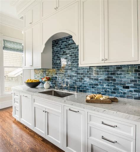 blue and white tile backsplash interior design inspiration photos by artistic designs for