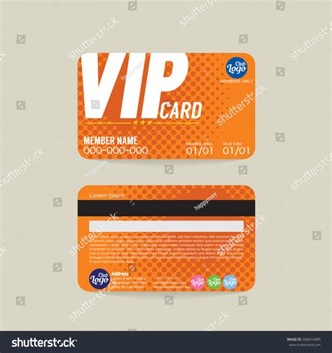 vip id card template front back vip member card template stock vector 360614489