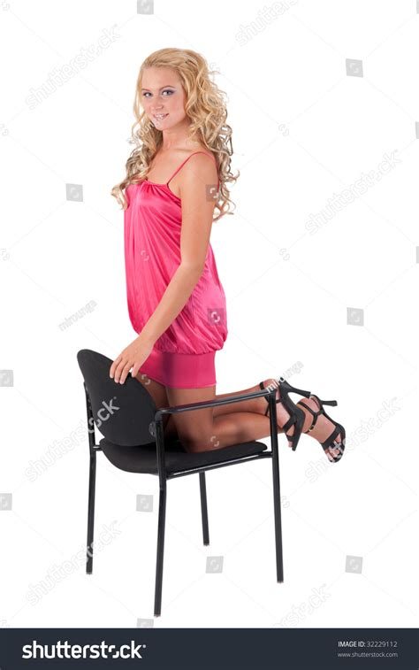Leaning Chair Beautiful Blond In Pink Dress Leaning On A Chair