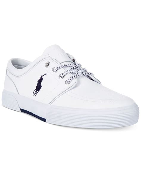 polo mens sneakers polo ralph faxon low leather sneakers in white for