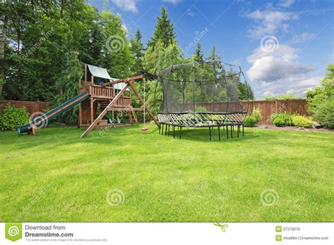 summer backyard summer fenced backyard with play area royalty free stock