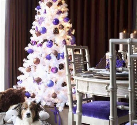 white christmas tree with purple decorations designcorner