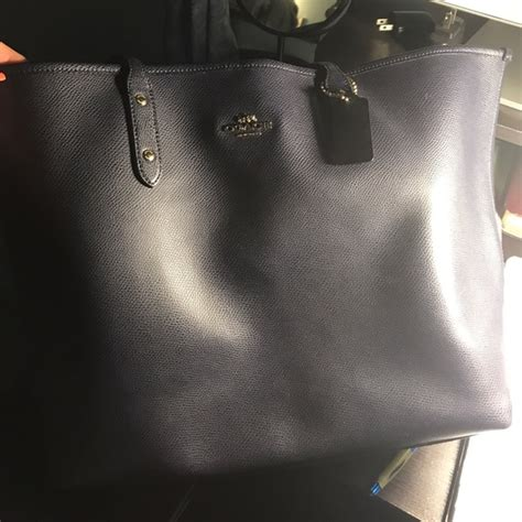 Coach Large Navy Authentic 20 coach handbags authentic large navy blue coach leather tote bag from s closet