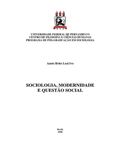 Sociologia, Modernidade e Questao Social | Sociologia